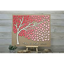 Custom Colors 3D Wedding Guest Book Alternative Tree Wood Hearts Rustic Wedding Wooden Guest Book Spring Coral Wedding Gift Tree of Life