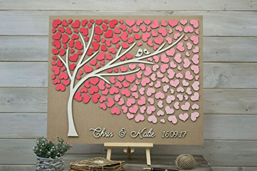 Coral Places Springs (Custom colors 3D Wedding guest book alternative tree wood hearts Rustic wedding wooden guest book Spring Coral Wedding gift Tree of life)