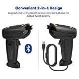 TaoTronics 2-in-1 Bluetooth & Wired Barcode Scanner USB Portable Bar Code Scanner with 32-bit Processor - Compatible with Windows, Mac OS, Android 4.0+, iOS