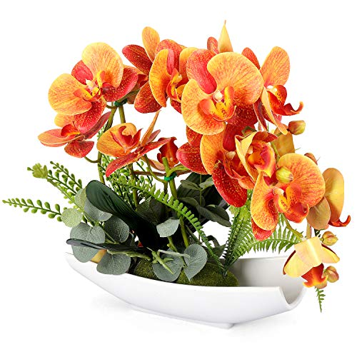 YOBANSA Orchid Bonsai Artificial Flowers with Imitation Porcelain Flower Pots Phalaenopsis Fake Flowers Arrangements for Home Decoration(Orange)