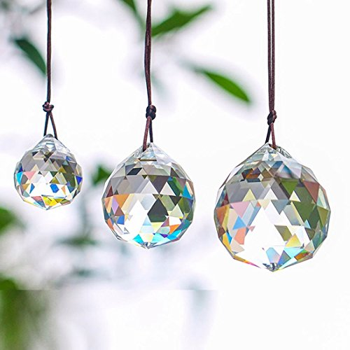 H&D 30/40/50mm Faceted Crystal Ball Chandelier Prisms Ceiling Lamp Lighting Hanging Drop Pendants Wedding Decoration 3pcs (Clear-Set)