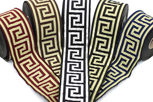 10 Yards 1.37 inch Greek Key Jacquard Ribbon, Jacquard Trim, Ribbon Trim, Sewing Trims (Silver)