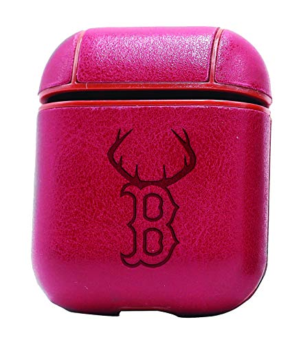 Boston RED Socks Deer Antlers Sportsman (Vintage Pink) Air Pods Protective Leather Case Cover - a New Class of Luxury to Your AirPods - Premium PU Leather and Handmade exquisitely by Master Craftsmen