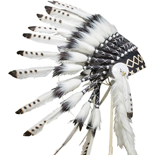 Feather Headdress - ADJUSTABLE KIDS SIZE - Indian Inspired - Black & White (Indian Dance Costumes And Accessories)
