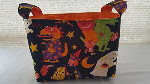 Halloween Fabric Organizer Basket Bin Caddy Storage Container - Dinosaurs Ghost -