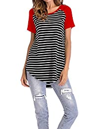 Women's Striped Raglan Long Sleeve Baseball T Shirt Tunic Tops