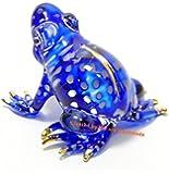 手作りの手吹きガラスの青いカエル ガラス細工 ガラスの置物 ガラス ミニチュア 動物の置物 家の装飾 室内装飾 - Glass Blue Frog