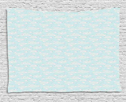 YouXianHome Nursery Tapestry DIY, Continuous Abstract Sky Pattern with Clouds and Birds, Wall Hanging for Bedroom Living Room Dorm, 90 W x 60 L Inches, Pale Blue Purpleblue and Pale Eggshell]()