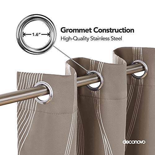 Deconovo Khaki Blackout Curtains Room Darkening Foil Print Wave Stripe Design Thermal Insulated Grommet Window Drapes… 3