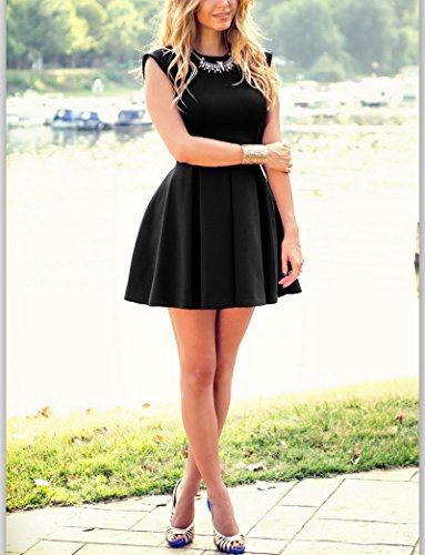 Vestido de verano IHRKleid® vestido sin mangas ocasional de las mujeres de senora White mini vestido de verano Negro