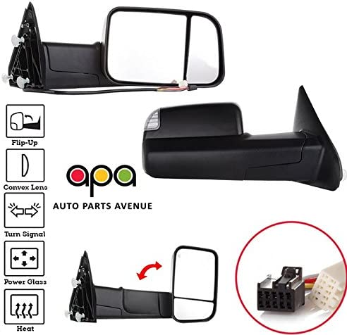 Side Mirrors For 09-15 1500 2500 3500 Towing Power Heated LED Puddle Signal Pair