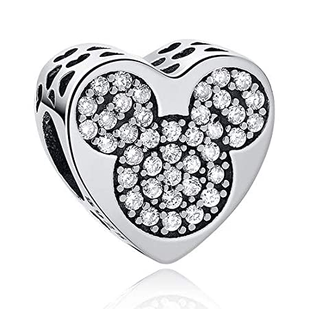 Calvas 925 Sterling Silver Pet Paw Print Animal Simulated Bead Crystal Heart Charms Fit Original Bracelet DIY Jewelry Color: PY1393