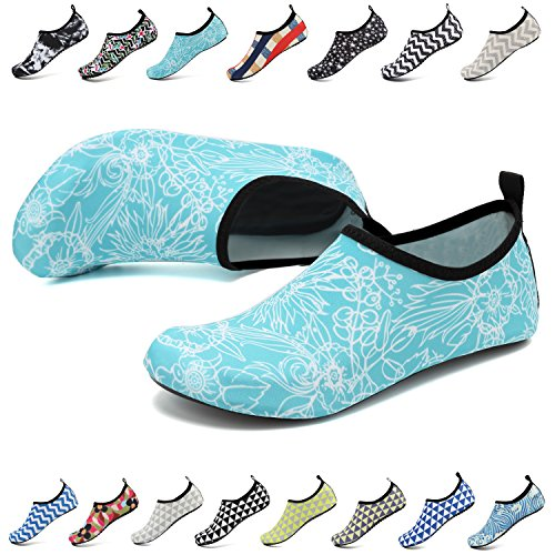 EASTSURE Snorkeling Shoes Water Sport Shoes Aqua Socks for Men Women Beach Swim Surf Yoga Light Blue 36-37 by EASTSURE