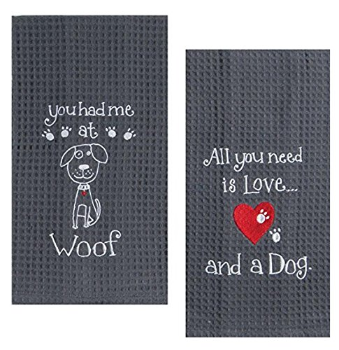 Dog Woof Dish - Kay Dee Dog Lover Embroidered Waffle Towel Set - One Each You Had Me at Woof & Dog Love
