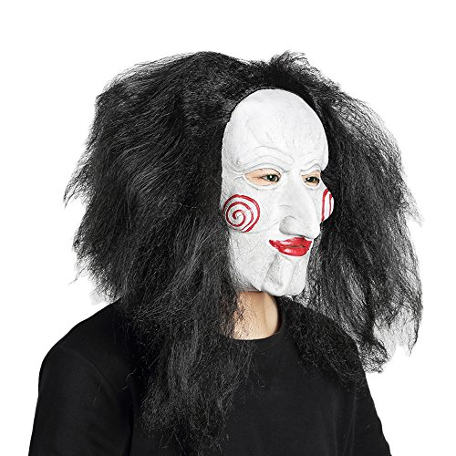 [Eyxia Halloween Cosplay Latex Mask Party Head Mask for Costume Adult Full Face Mask with Wig] (Saw Mask Halloween)