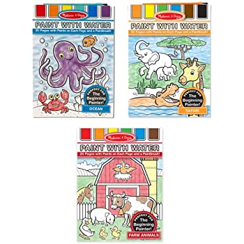 Melissa doug paint with water activity books set farm ocean safari