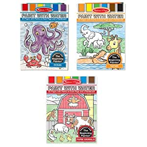 Melissa & Doug Paint With Water Activity Books Set: Farm, Ocean, Safari
