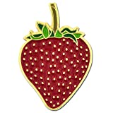 PinMart's Cute Red Strawberry Summer Fruit Detailed Enamel Lapel Pin