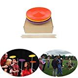 YuXing Professional Spinning Plates / Juggling Plates Set of 3 (11'' 3.8OZ Red Yellow Purple) with 3 Durable Sticks (22.6 Inches 0.7 Ounce) Fit All