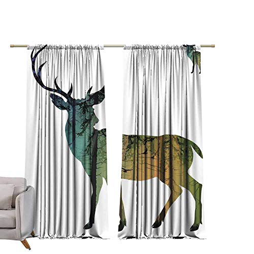 - berrly Thermal Insulated Drapes Colored elk W96 x L84 Art Grommet Curtains for Girls Room