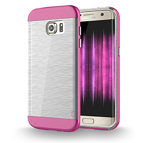 Shockproof Hard TPU Case for Samsung Galaxy S7 Edge (Hot Pink/Blue) - 8