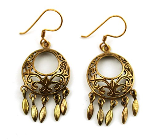 Bronze Vintage Filigree Earrings Vine Drop Dangle Fish Hook Thailand Jewelry