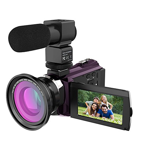 4K Video Camcorder, Rraycom 48MP WiFi Camcorders Ultra-HD Portable Digital Video Camera Recorder 3inch Touch Screen with External Microphone and Wide Angle Lens by Rraycom