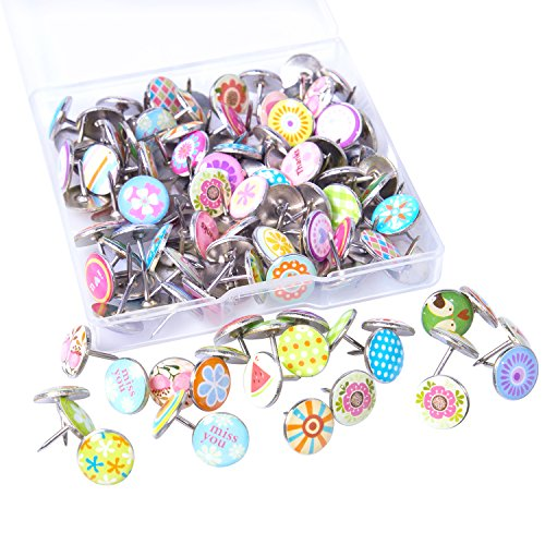 120 Pieces Creative Thumb Tacks Drawing Push Pins Decorative Metal Pins for Wall, Bulletin Boards, Photos, Maps and Cork Boards