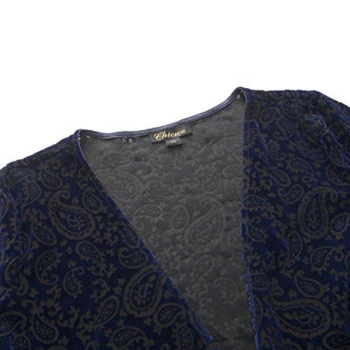 Floreale Chicwe Giacca Blu Donna Floccaggio Taglie Up Davanti Coprire Forti Cover Aperto Casual twqU6Tw