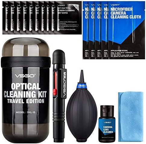 VSGO DKL-15 – Kit da viaggio per pulizia dell'obiettivo della fotocamera: penna per lenti, panno in microfibra, soffiatore d'aria, salvietta umidificata, panno per schermo, bottiglia impermeabile