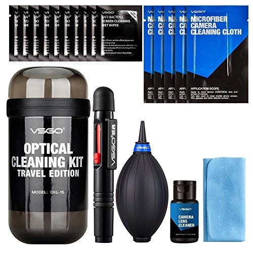 VSGO DKL-15 UES DSL Camera Lens Cleaning Kits: Lens Cleaner, Lens Pen, Microfiber Lens Cleaning Cloth, Air Blower, Wet Wipe, Suede Screen Cloth and Waterproof Bottle Container, Black by VSGO