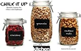 """Circleware Chalk it up Chalkboard Glass Jar Canister Set with Hermetic Locking Lids, Set of 3, 5.5""""/6.5""""/8"""", Clear"""