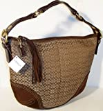 COACH HANDBAGS, SIGNATURE SOHO LARGE HOBO SATCHEL # 2158 (Khaki / Dark Brown)