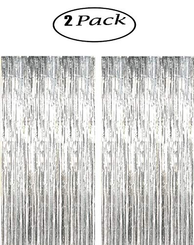 CHIYUN 2 Pack of Large 3.2 ft x 9.8 ft (1M x 3M) Metallic Tinsel Foil Fringe Curtains,glitter streamers for Party Photo Backdrop Wedding Decor,Silver decorations,Highlights for this product for -