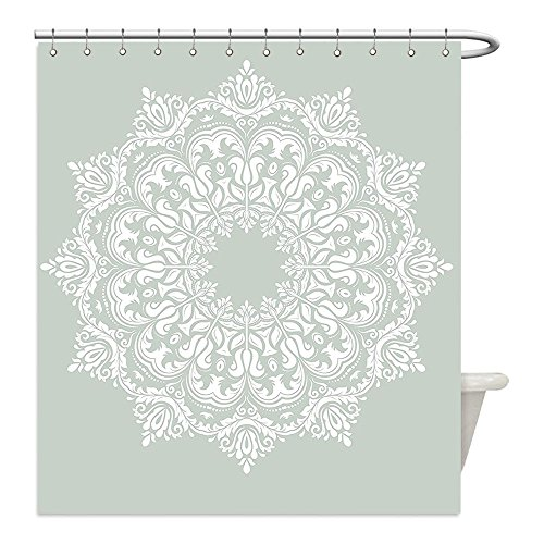 Liguo88 Custom Waterproof Bathroom Shower Curtain Polyester Arabian Decor Oriental Pattern with Damask Arabesque and Floral Elements Classical Islamic Art Motifs Decor Green White Decorative bathro by liguo88
