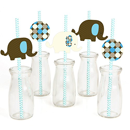 Blue Elephant Paper Straw Decor - Baby Shower or Birthday Party Striped Decorative Straws - Set of 24
