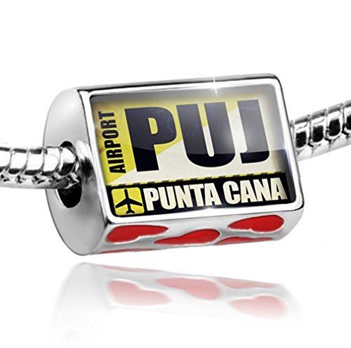 NEONBLOND Bead with Hearts Airportcode PUJ Punta Cana - Charm Fit All European Bracelets,