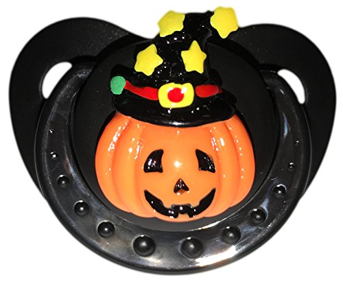 Envy Body Shop Adult Sized Cute Gem Halloween Pacifier Dummy for Adult Halloween Baby ABDL/DDLG/Little Space BigShield (Black, Witchy -