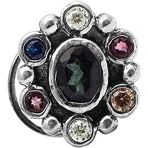 monde éblouissant 925 Sterling Silver Round Shape Multi Colour Blue Cubic Zircon Nose Pin for Women