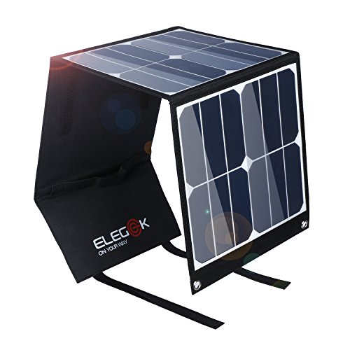 Foldable Solar Charger 40W Portable Solar Panel ELEGEEK High Efficiency Folding Solar Charger with 5V USB 18V DC Output for Laptop Universal Smartphone Tablet GPS GoPro Car Battery in Camping Hiking