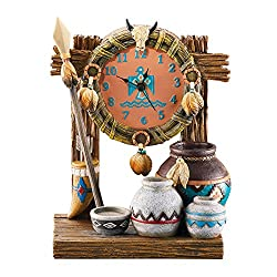 Collections Etc Table Clock with Native American Accents of Spear, Pots, Feathers and Wreath, Hand Painted Southestern Décor