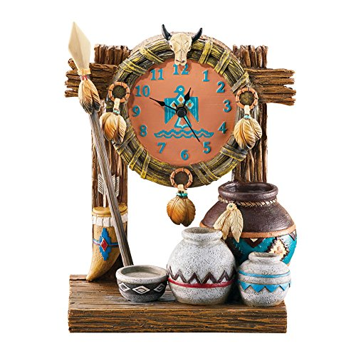 Collections Etc Table Clock with Native American Accents of Spear, Pots, Feathers and Wreath, Hand Painted Southestern - American Home Native