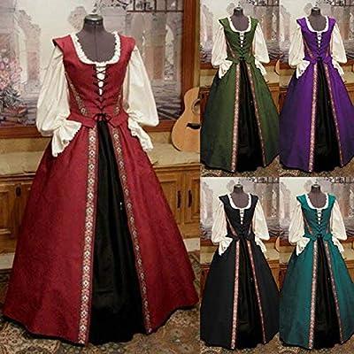 MoMo Vestido Largo gótico de Miel, Medieval, Vintage, para Mujer ...