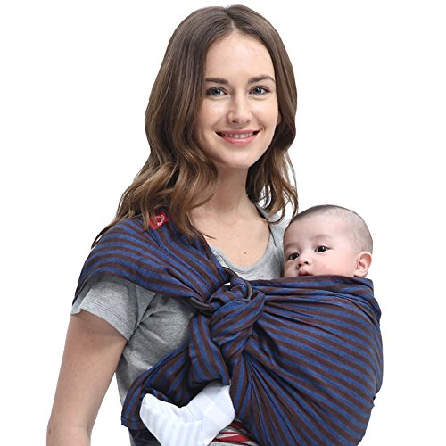 Brown Baby Sling - Mamaway Ring Sling Baby Wrap Carrier for Infant, Newborn, Toddler, Nursing Cover, Breastfeeding Privacy, Baby Holder, Breathable Fabric, 100% Cotton-Blueberry Brownie