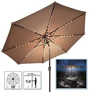 BenefitUSA 10'patio paraguas 80LED luz al aire libre jardín manivela de inclinación sombrilla