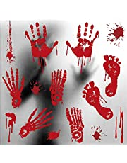 Doxishruky Halloween Bloody Window Stickers, Bloody Handprints & Blood Splats Scary Sticker for Halloween Decoration Window Posters Party Decor