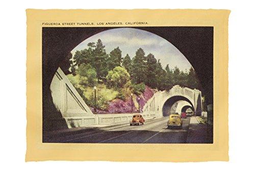 Figueroa Street - Figueroa Street Tunnels - Los Angeles, California USA c. 1952 (60x80 Poly Fleece Thick Plush Blanket)