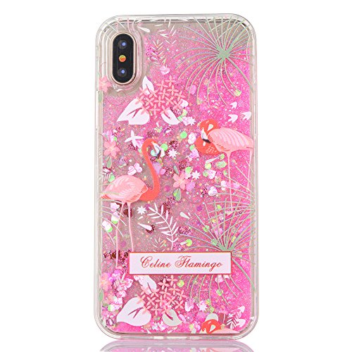iPhone X Case, CRAZY PANDA iPhone X Liquid Pink Glitter Case Creative Sparkle Moving Luxury Bling Quicksand Back Case with Shockproof Protective Soft Border Pretty Fashion Design - Red Flamingos Crazy Panda