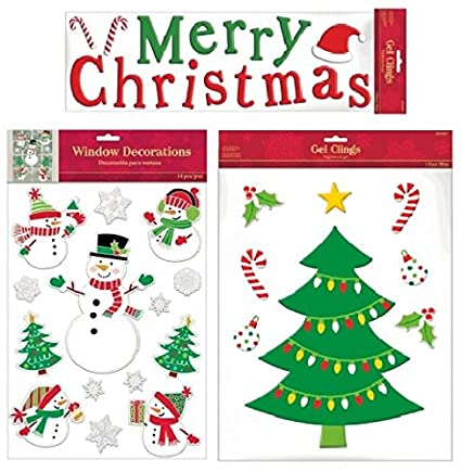fakkos design christmas window clings gel decals long merry christmas large tree ornaments - Christmas Window Decorations Amazon