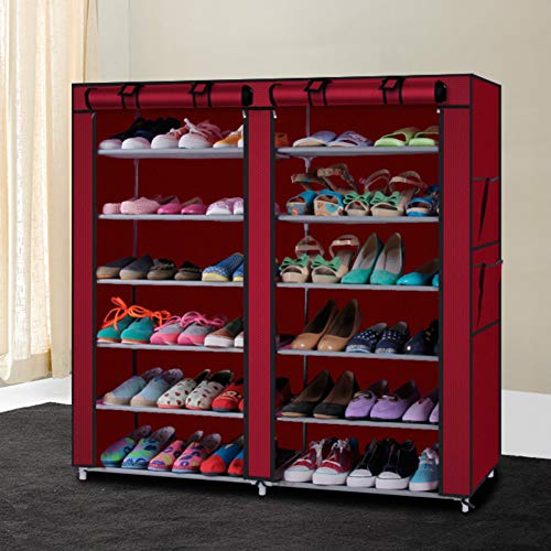 Lovinland Shoes Rack Shelf 6 Layer 12 Grid Non-Woven Fabric Shoes Cabinet with Cover Shoes Closet Storage Rack Wine Red ()